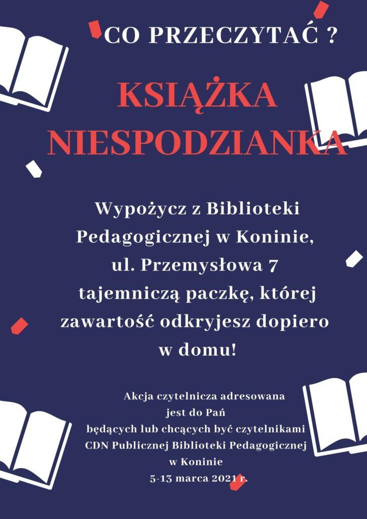 zdjęcie przedstawiające grafikę akcji książka z niespodzianką, z ujętymi graficznie motywami książek