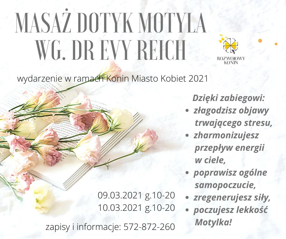 zdjęcie przedstawiające grafikę wydarzenia masaż dotyk motyla, na której znajduje się opis zabiegu, logotyp Rozwojowy Konin oraz róże ułożone na książce